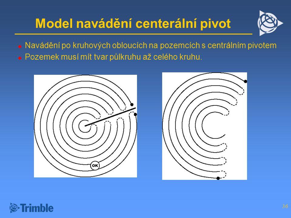 36 Model navádění centerální pivot  Navádění po kruhových obloucích na pozemcích s centrálním pivotem  Pozemek musí mít tvar půlkruhu až celého kruhu.