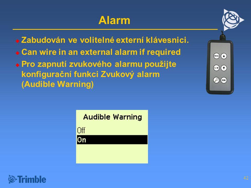 42 Alarm  Zabudován ve volitelné externí klávesnici.