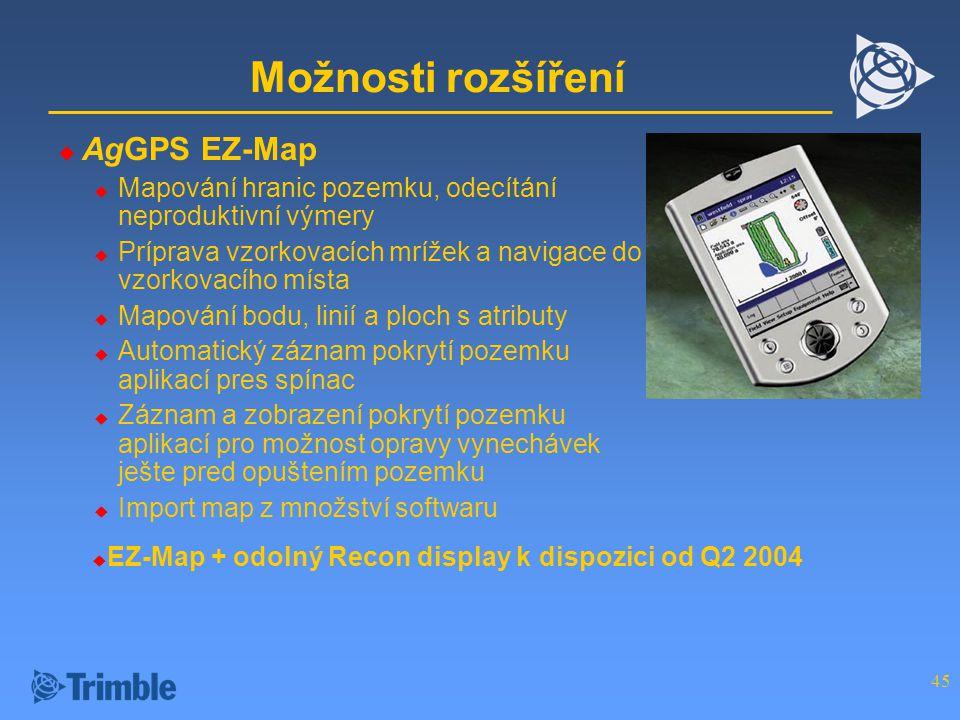 45 Možnosti rozšíření  AgGPS EZ-Map  Mapování hranic pozemku, odecítání neproduktivní výmery  Príprava vzorkovacích mrížek a navigace do vzorkovacího místa  Mapování bodu, linií a ploch s atributy  Automatický záznam pokrytí pozemku aplikací pres spínac  Záznam a zobrazení pokrytí pozemku aplikací pro možnost opravy vynechávek ješte pred opuštením pozemku  Import map z množství softwaru  EZ-Map + odolný Recon display k dispozici od Q2 2004