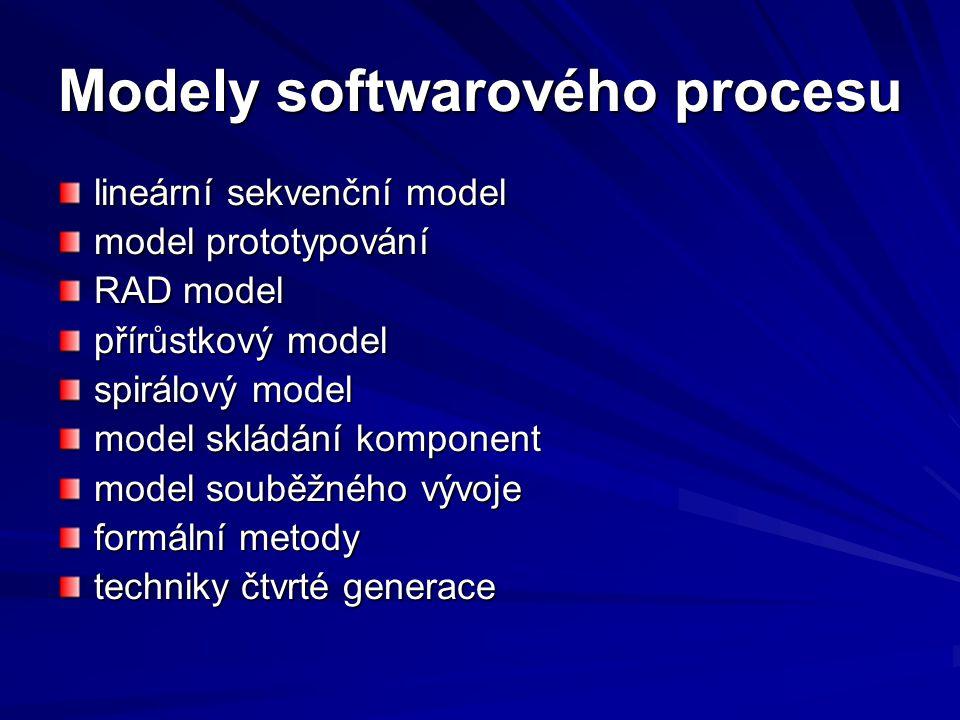 Modely softwarového procesu lineární sekvenční model model prototypování RAD model přírůstkový model spirálový model model skládání komponent model souběžného vývoje formální metody techniky čtvrté generace