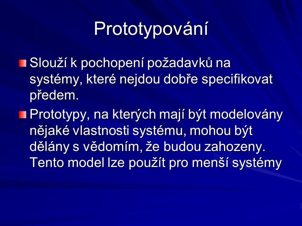 Prototypování Slouží k pochopení požadavků na systémy, které nejdou dobře specifikovat předem.