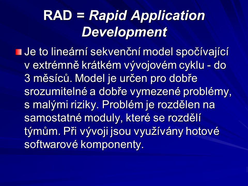 RAD = Rapid Application Development Je to lineární sekvenční model spočívající v extrémně krátkém vývojovém cyklu - do 3 měsíců.