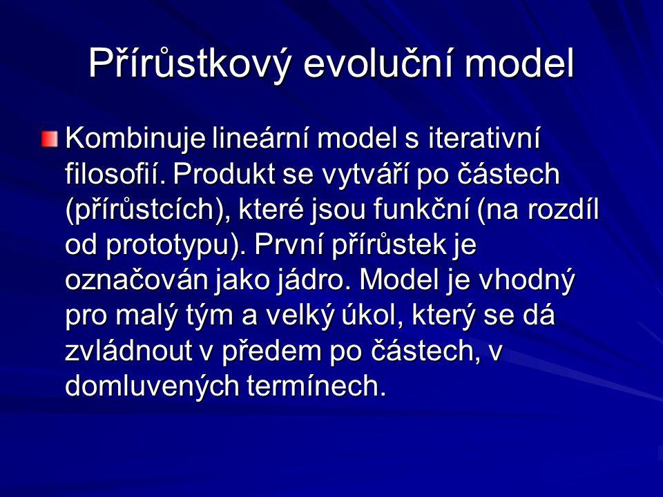 Přírůstkový evoluční model Kombinuje lineární model s iterativní filosofií.