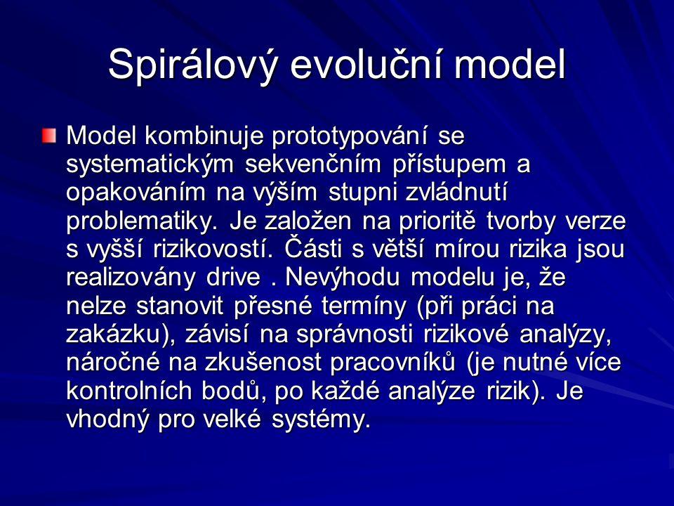 Spirálový evoluční model Model kombinuje prototypování se systematickým sekvenčním přístupem a opakováním na výším stupni zvládnutí problematiky.