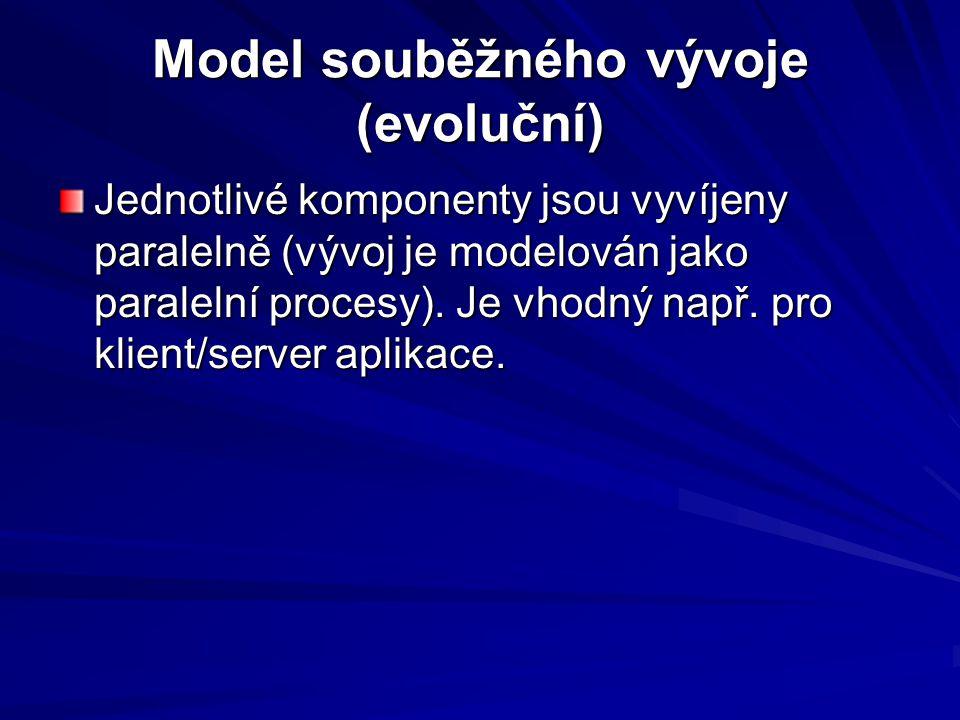 Model souběžného vývoje (evoluční) Jednotlivé komponenty jsou vyvíjeny paralelně (vývoj je modelován jako paralelní procesy).
