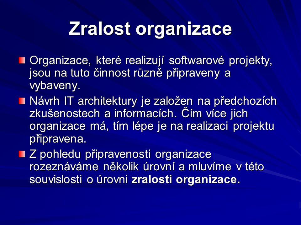 Zralost organizace Organizace, které realizují softwarové projekty, jsou na tuto činnost různě připraveny a vybaveny.
