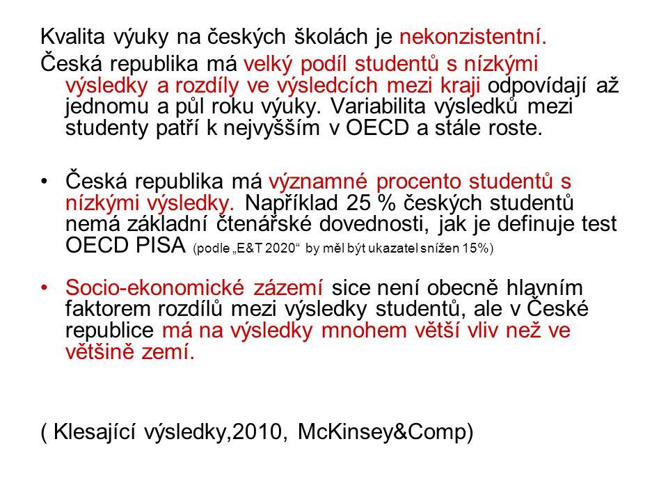 Kvalita výuky na českých školách je nekonzistentní. Česká republika má velký podíl studentů s nízkými výsledky a rozdíly ve výsledcích mezi kraji odpo