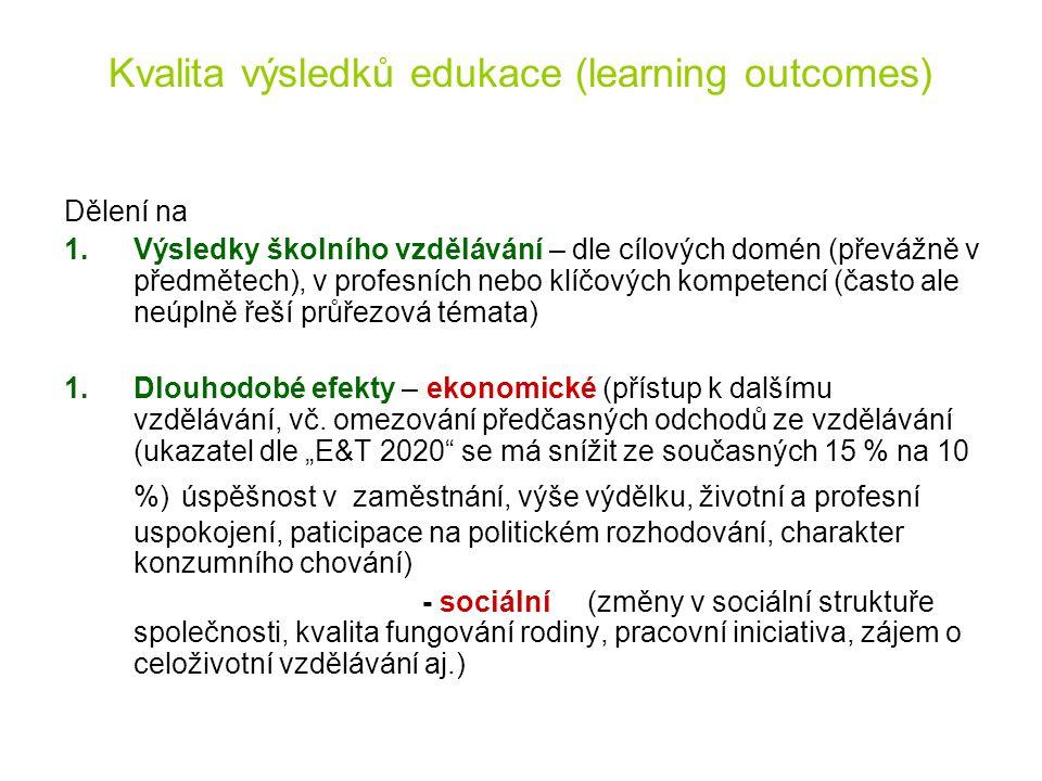 Kvalita výsledků edukace (learning outcomes) Dělení na 1.Výsledky školního vzdělávání – dle cílových domén (převážně v předmětech), v profesních nebo