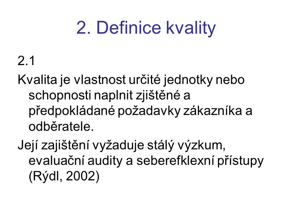 2. Definice kvality 2.1 Kvalita je vlastnost určité jednotky nebo schopnosti naplnit zjištěné a předpokládané požadavky zákazníka a odběratele. Její z