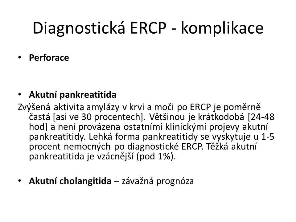 Diagnostická ERCP - komplikace Perforace Akutní pankreatitida Zvýšená aktivita amylázy v krvi a moči po ERCP je poměrně častá [asi ve 30 procentech].