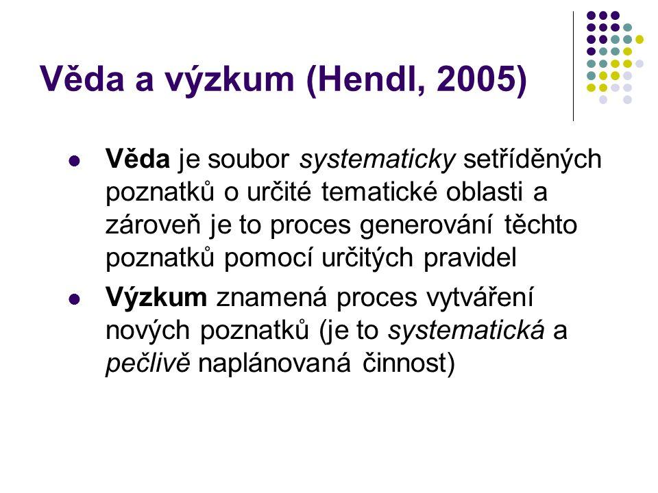 Věda a výzkum (Hendl, 2005) Věda je soubor systematicky setříděných poznatků o určité tematické oblasti a zároveň je to proces generování těchto pozna