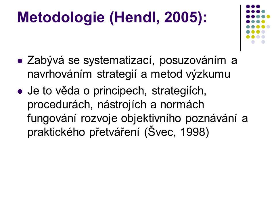 Metodologie (Hendl, 2005): Zabývá se systematizací, posuzováním a navrhováním strategií a metod výzkumu Je to věda o principech, strategiích, procedur