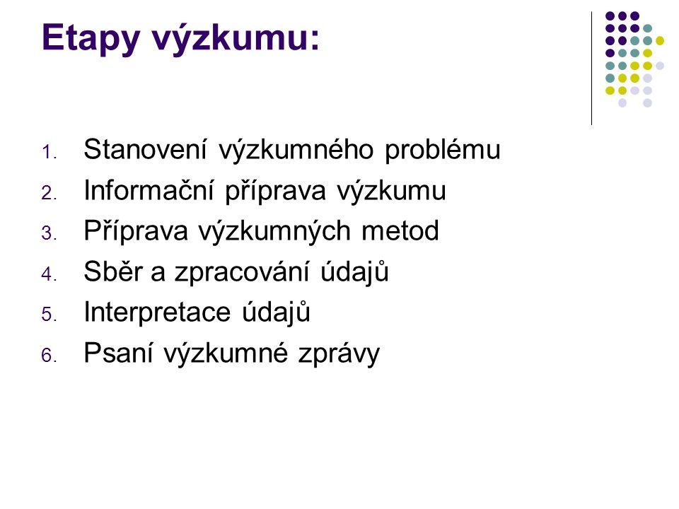 Etapy výzkumu: 1. Stanovení výzkumného problému 2. Informační příprava výzkumu 3. Příprava výzkumných metod 4. Sběr a zpracování údajů 5. Interpretace