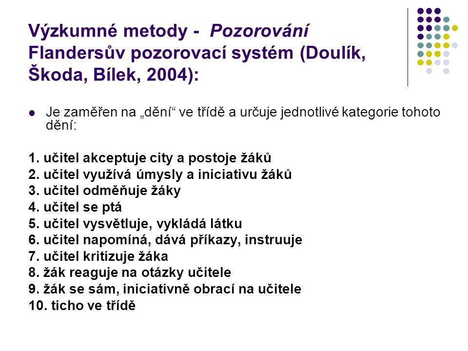 """Výzkumné metody - Pozorování Flandersův pozorovací systém (Doulík, Škoda, Bílek, 2004): Je zaměřen na """"dění"""" ve třídě a určuje jednotlivé kategorie to"""