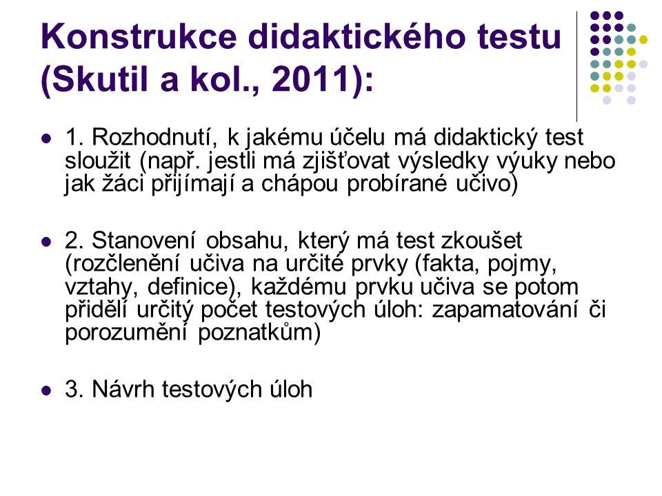 Konstrukce didaktického testu (Skutil a kol., 2011): 1. Rozhodnutí, k jakému účelu má didaktický test sloužit (např. jestli má zjišťovat výsledky výuk