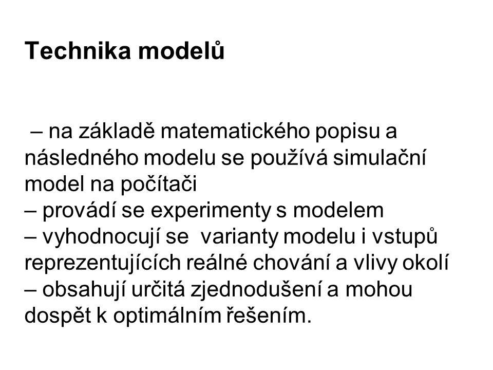 Technika modelů – na základě matematického popisu a následného modelu se používá simulační model na počítači – provádí se experimenty s modelem – vyho
