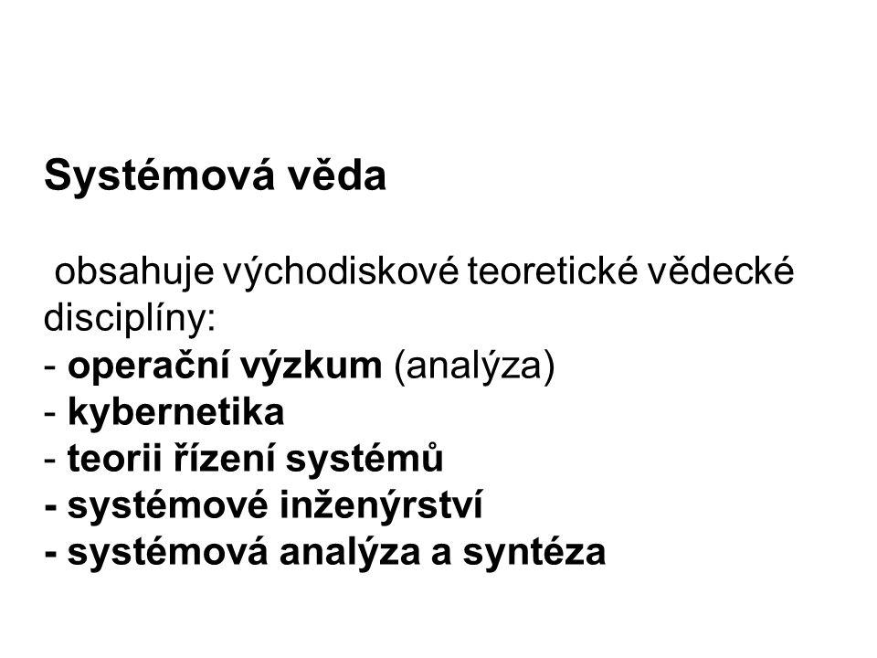 Systémová věda obsahuje východiskové teoretické vědecké disciplíny: - operační výzkum (analýza) - kybernetika - teorii řízení systémů - systémové inže