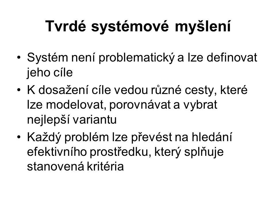 Tvrdé systémové myšlení Systém není problematický a lze definovat jeho cíle K dosažení cíle vedou různé cesty, které lze modelovat, porovnávat a vybra