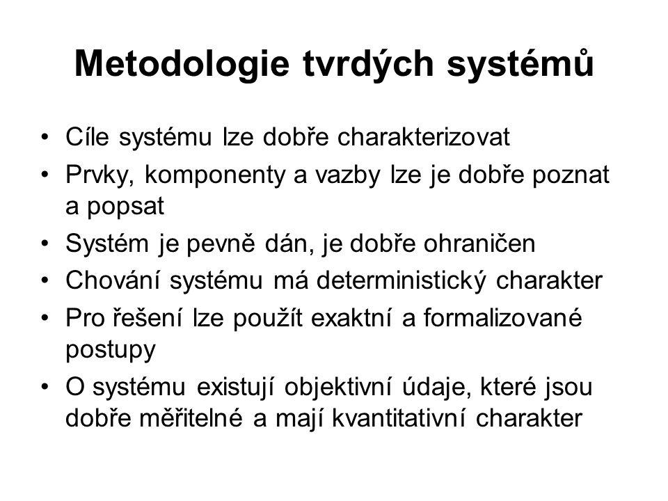 Metodologie tvrdých systémů Cíle systému lze dobře charakterizovat Prvky, komponenty a vazby lze je dobře poznat a popsat Systém je pevně dán, je dobř