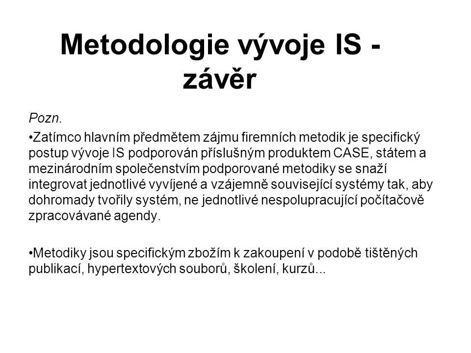 Metodologie vývoje IS - závěr Pozn. Zatímco hlavním předmětem zájmu firemních metodik je specifický postup vývoje IS podporován příslušným produktem C