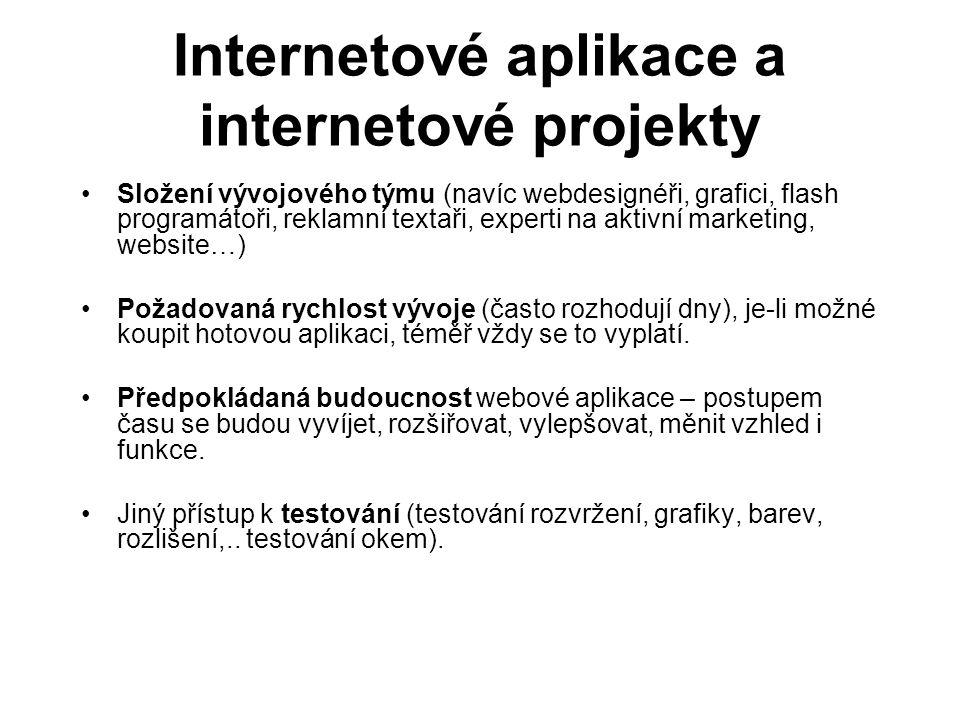 Internetové aplikace a internetové projekty Složení vývojového týmu (navíc webdesignéři, grafici, flash programátoři, reklamní textaři, experti na akt