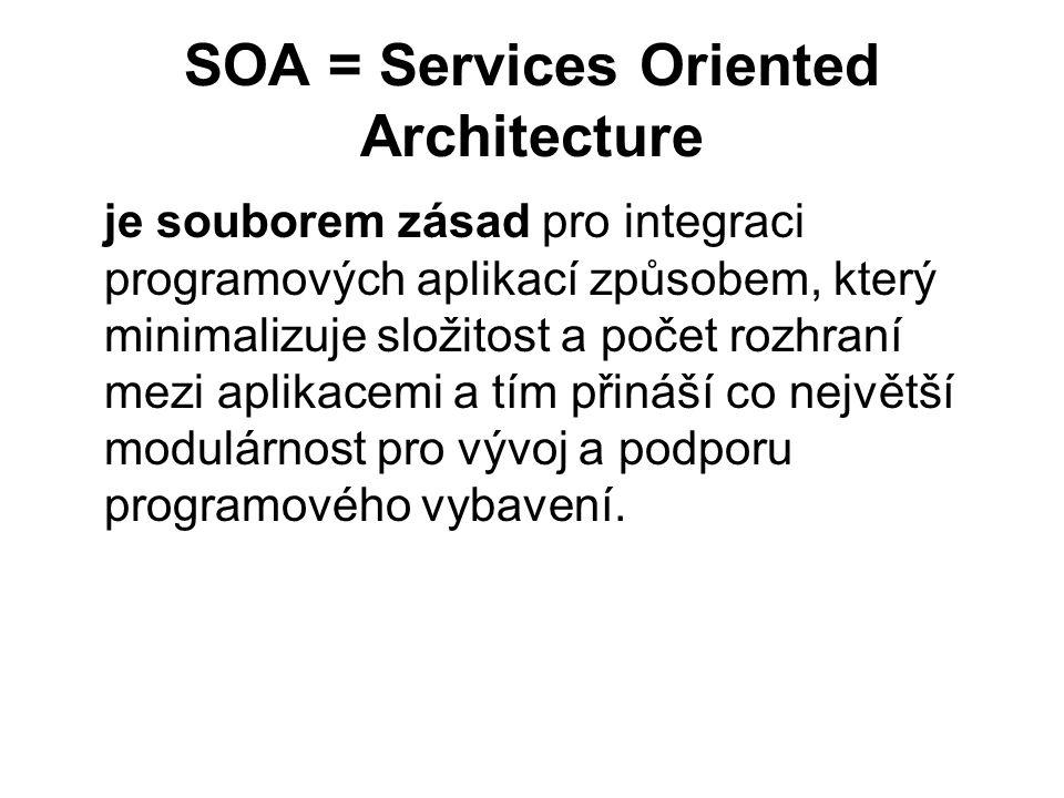 SOA = Services Oriented Architecture je souborem zásad pro integraci programových aplikací způsobem, který minimalizuje složitost a počet rozhraní mez