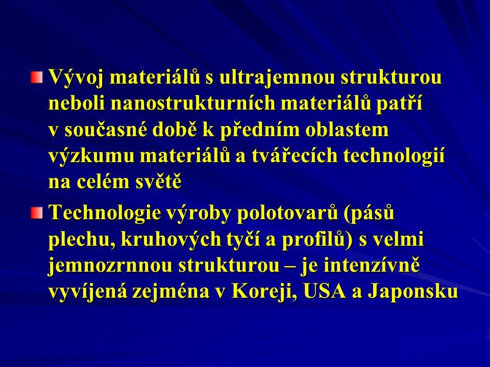 Vývoj materiálů s ultrajemnou strukturou neboli nanostrukturních materiálů patří v současné době k předním oblastem výzkumu materiálů a tvářecích technologií na celém světě Technologie výroby polotovarů (pásů plechu, kruhových tyčí a profilů) s velmi jemnozrnnou strukturou – je intenzívně vyvíjená zejména v Koreji, USA a Japonsku