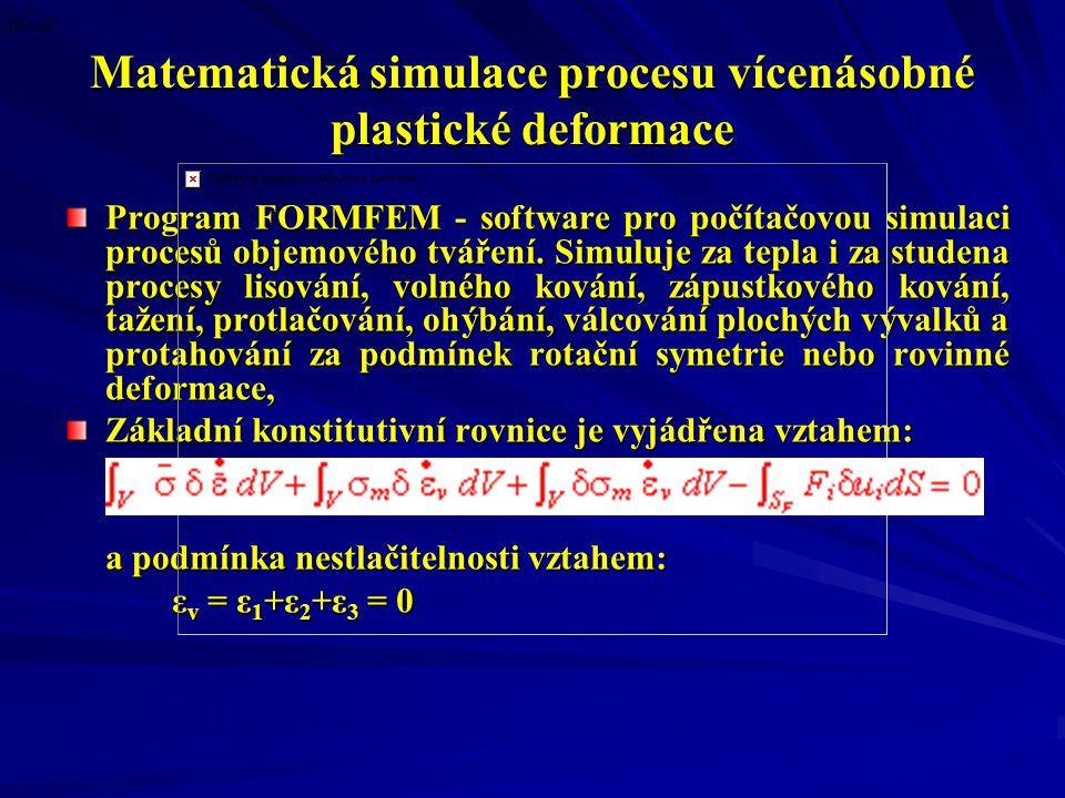 Matematická simulace procesu vícenásobné plastické deformace Program FORMFEM - software pro počítačovou simulaci procesů objemového tváření.