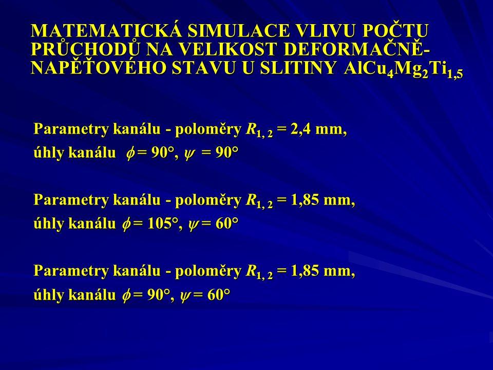 MATEMATICKÁ SIMULACE VLIVU POČTU PRŮCHODŮ NA VELIKOST DEFORMAČNĚ- NAPĚŤOVÉHO STAVU U SLITINY AlCu 4 Mg 2 Ti 1,5 Parametry kanálu - poloměry R 1, 2 = 2,4 mm, úhly kanálu  = 90°,  = 90° Parametry kanálu - poloměry R 1, 2 = 1,85 mm, úhly kanálu  = 105°,  = 60° Parametry kanálu - poloměry R 1, 2 = 1,85 mm, úhly kanálu  = 90°,  = 60°