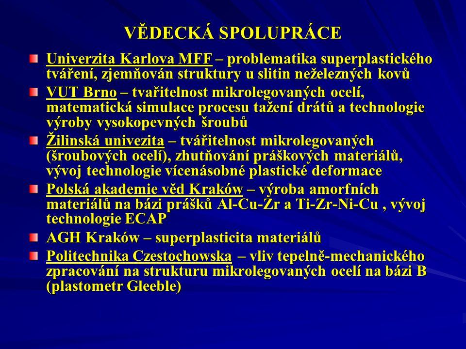 VĚDECKÁ SPOLUPRÁCE Univerzita Karlova MFF – problematika superplastického tváření, zjemňován struktury u slitin neželezných kovů VUT Brno – tvařitelnost mikrolegovaných ocelí, matematická simulace procesu tažení drátů a technologie výroby vysokopevných šroubů Žilinská univezita – tvářitelnost mikrolegovaných (šroubových ocelí), zhutňování práškových materiálů, vývoj technologie vícenásobné plastické deformace Polská akademie věd Kraków – výroba amorfních materiálů na bázi prášků Al-Cu-Zr a Ti-Zr-Ni-Cu, vývoj technologie ECAP AGH Kraków – superplasticita materiálů Politechnika Czestochowska – vliv tepelně-mechanického zpracování na strukturu mikrolegovaných ocelí na bázi B (plastometr Gleeble)