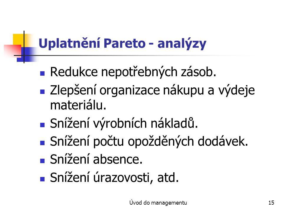 Úvod do managementu15 Uplatnění Pareto - analýzy Redukce nepotřebných zásob. Zlepšení organizace nákupu a výdeje materiálu. Snížení výrobních nákladů.