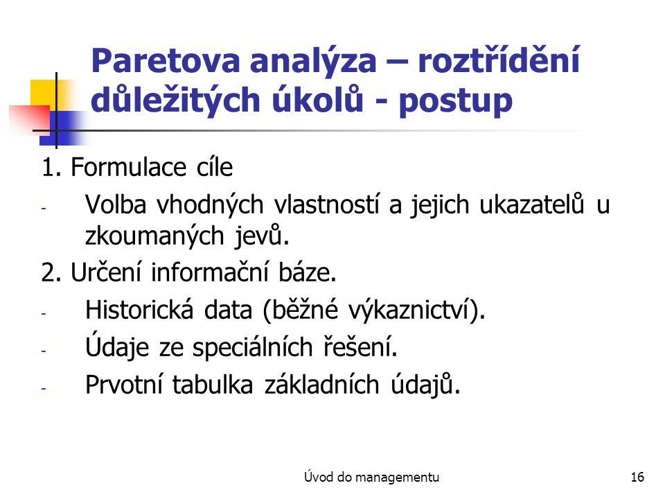 Úvod do managementu16 Paretova analýza – roztřídění důležitých úkolů - postup 1. Formulace cíle - Volba vhodných vlastností a jejich ukazatelů u zkoum