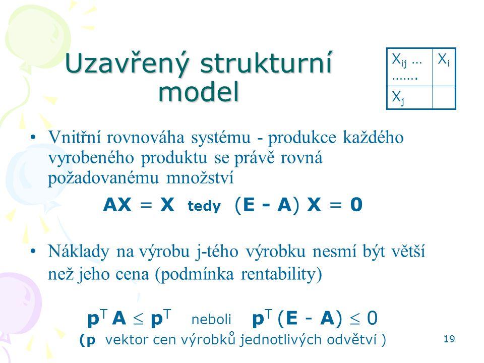 19 Uzavřený strukturní model Vnitřní rovnováha systému - produkce každého vyrobeného produktu se právě rovná požadovanému množství AX = X tedy (E - A) X = 0 Náklady na výrobu j-tého výrobku nesmí být větší než jeho cena (podmínka rentability) p T A  p T neboli p T (E - A)  0 (p vektor cen výrobků jednotlivých odvětv í ) X ij … …….