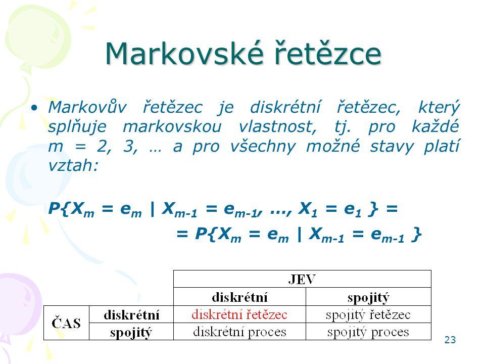 23 Markovské řetězce Markovův řetězec je diskrétní řetězec, který splňuje markovskou vlastnost, tj. pro každé m = 2, 3, … a pro všechny možné stavy pl