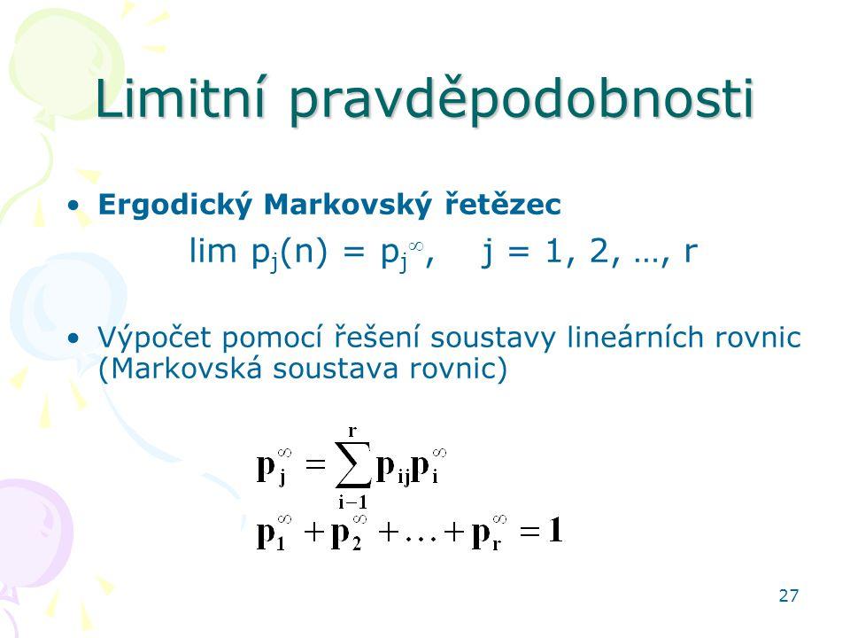 27 Limitní pravděpodobnosti Ergodický Markovský řetězec lim p j (n) = p j , j = 1, 2, …, r Výpočet pomocí řešení soustavy lineárních rovnic (Markovská soustava rovnic)