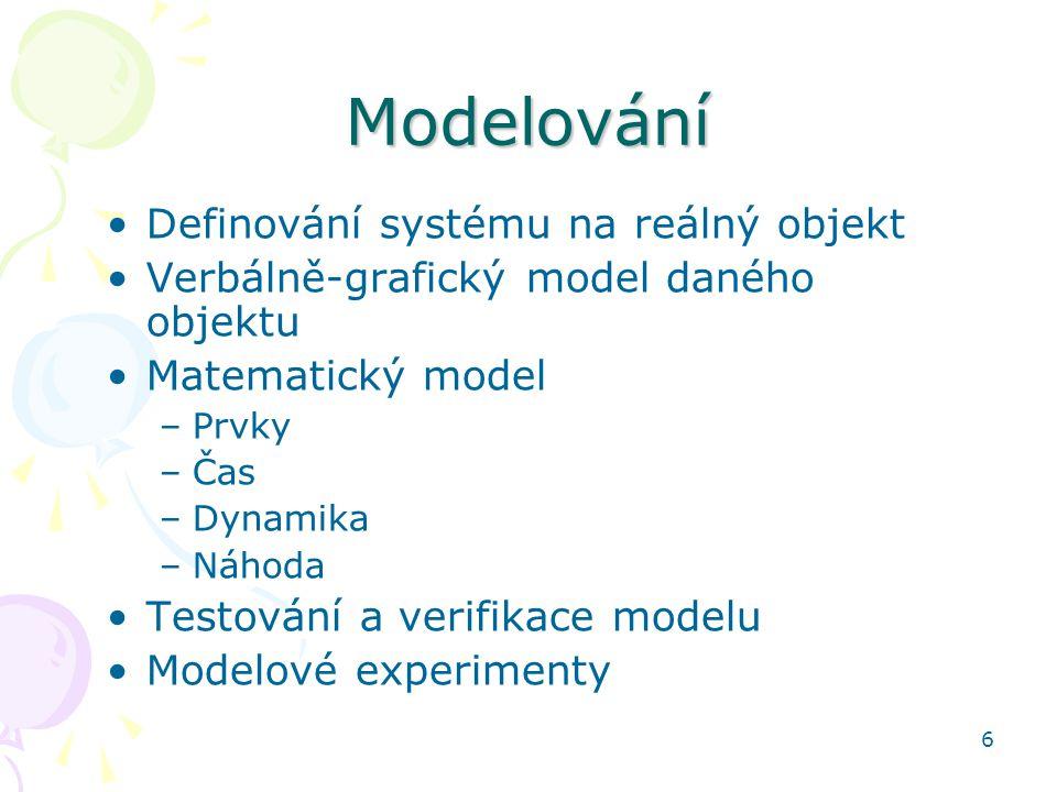 6 Modelování Definování systému na reálný objekt Verbálně-grafický model daného objektu Matematický model –Prvky –Čas –Dynamika –Náhoda Testování a ve