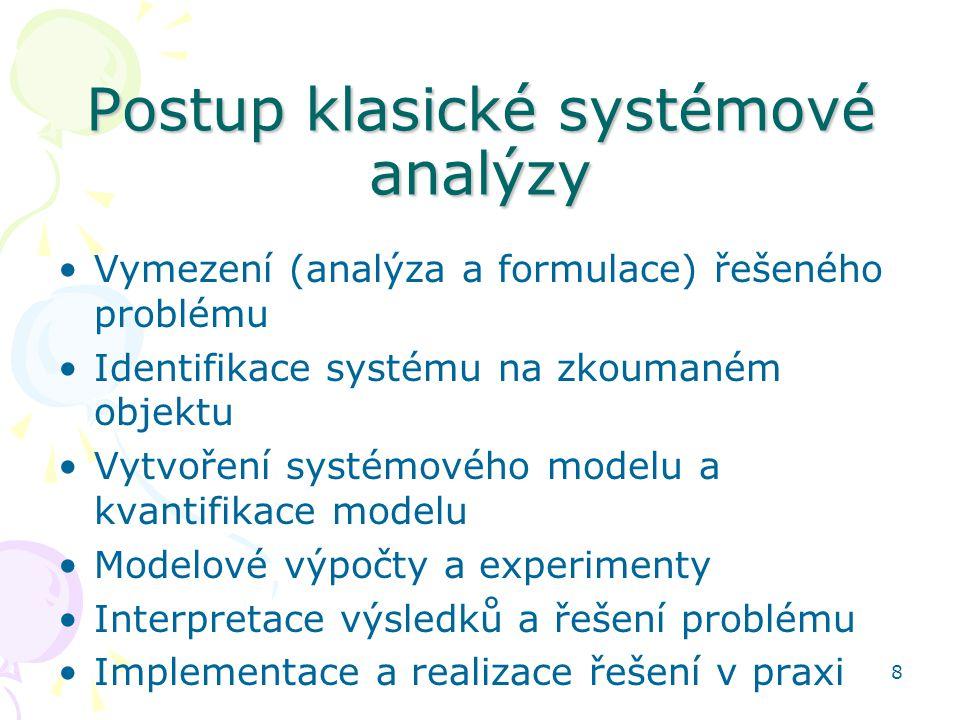 8 Postup klasické systémové analýzy Vymezení (analýza a formulace) řešeného problému Identifikace systému na zkoumaném objektu Vytvoření systémového m