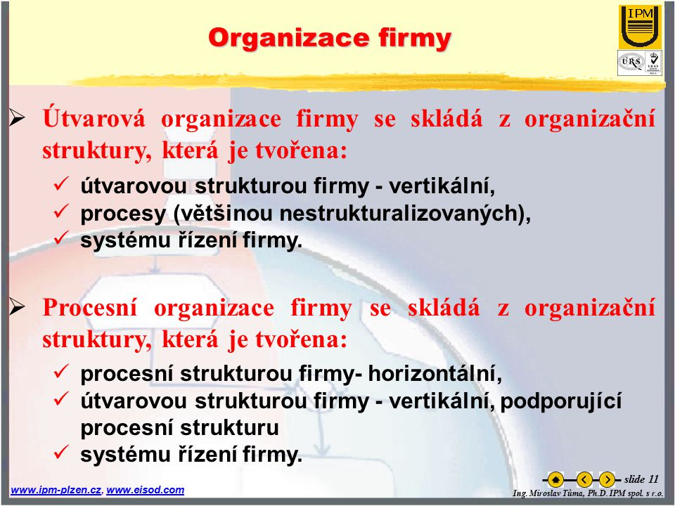 Ing. Miroslav Tůma, Ph.D. IPM spol. s r.o. www.ipm-plzen.czwww.ipm-plzen.cz, www.eisod.comwww.eisod.com slide 11 Organizace firmy  Útvarová organizac