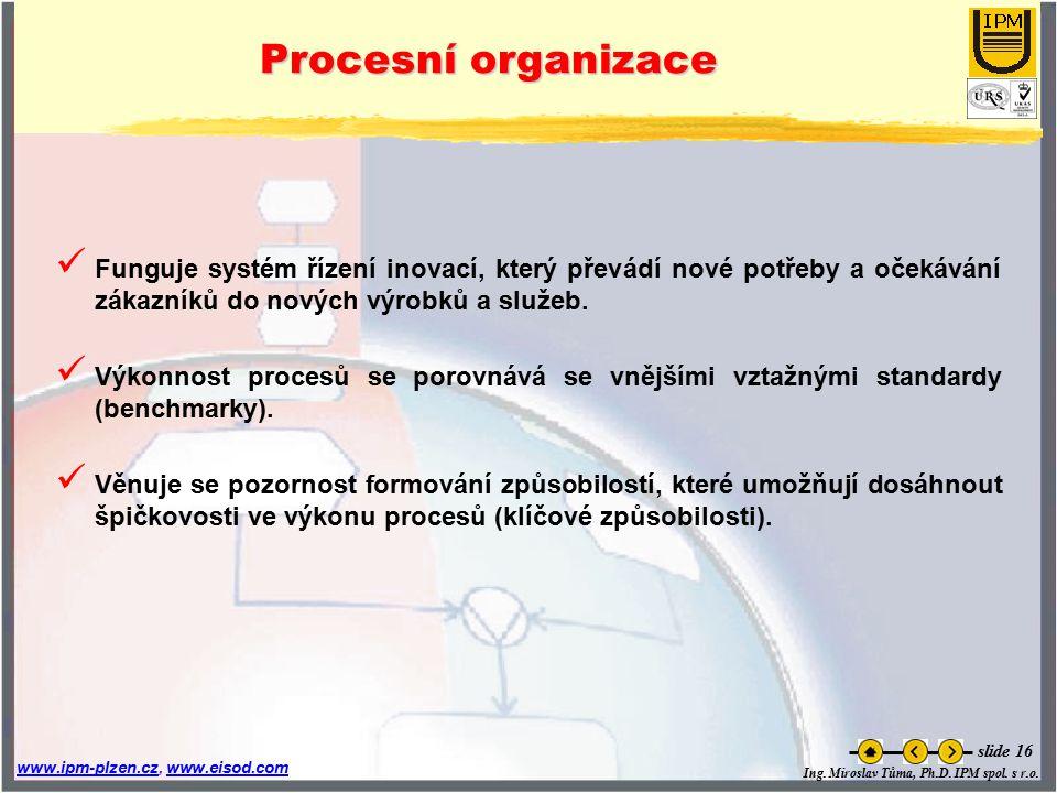 Ing. Miroslav Tůma, Ph.D. IPM spol. s r.o. www.ipm-plzen.czwww.ipm-plzen.cz, www.eisod.comwww.eisod.com slide 16 Procesní organizace Funguje systém ří