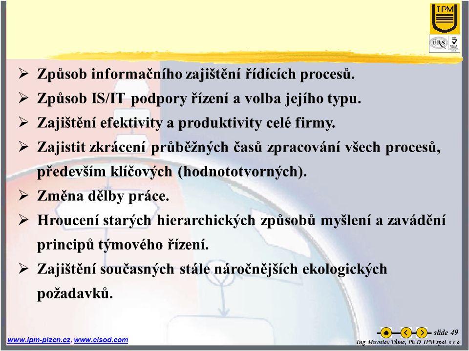Ing. Miroslav Tůma, Ph.D. IPM spol. s r.o. www.ipm-plzen.czwww.ipm-plzen.cz, www.eisod.comwww.eisod.com slide 49  Způsob informačního zajištění řídíc