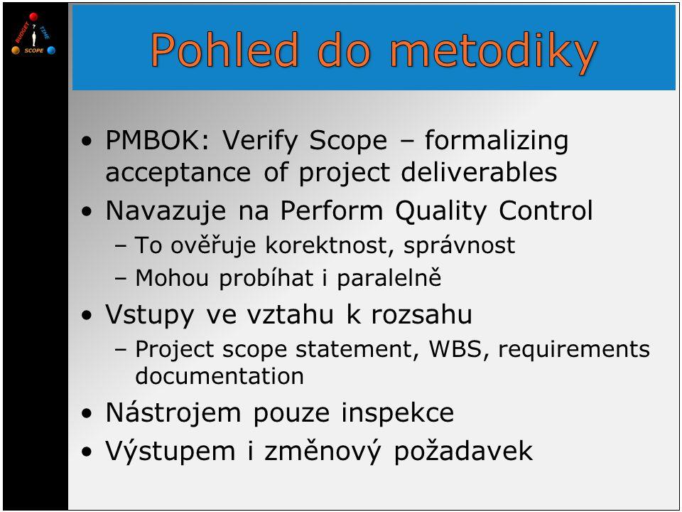 PMBOK: Verify Scope – formalizing acceptance of project deliverables Navazuje na Perform Quality Control –To ověřuje korektnost, správnost –Mohou prob