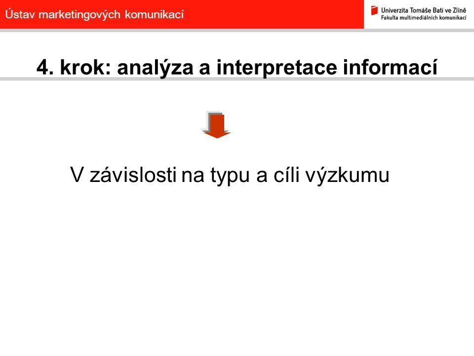 Ústav marketingových komunikací 4. krok: analýza a interpretace informací V závislosti na typu a cíli výzkumu