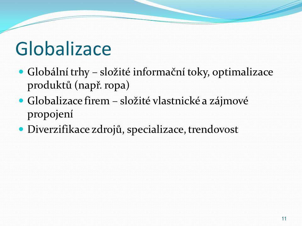 Globalizace Globální trhy – složité informační toky, optimalizace produktů (např. ropa) Globalizace firem – složité vlastnické a zájmové propojení Div
