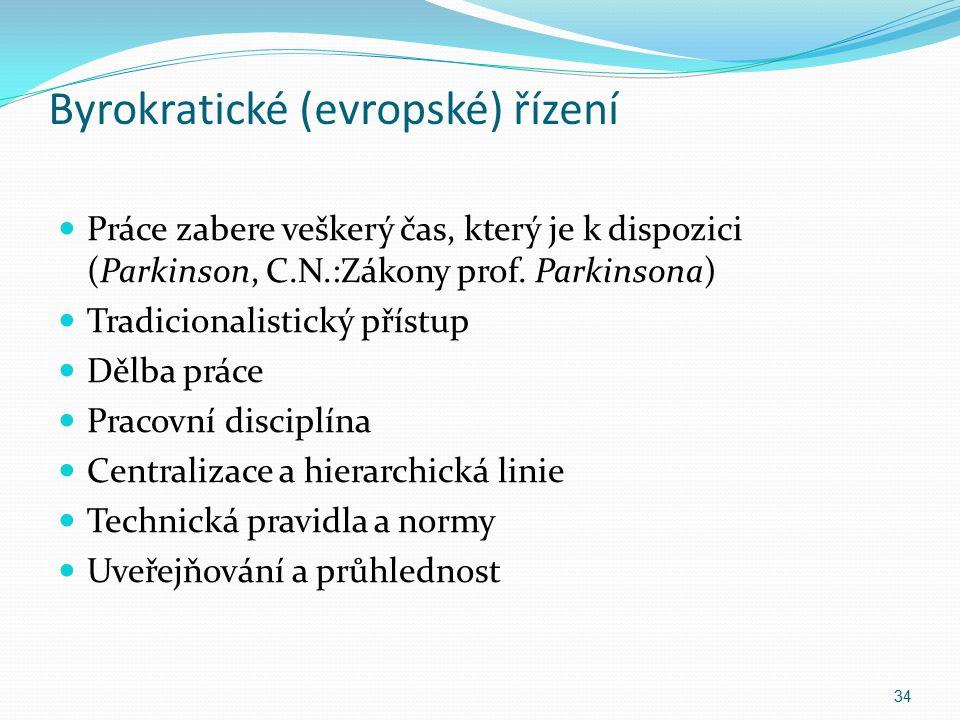Byrokratické (evropské) řízení Práce zabere veškerý čas, který je k dispozici (Parkinson, C.N.:Zákony prof. Parkinsona) Tradicionalistický přístup Děl