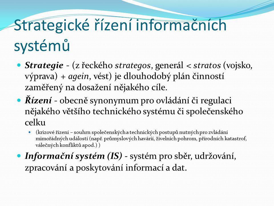 Strategické řízení informačních systémů Strategie - (z řeckého strategos, generál < stratos (vojsko, výprava) + agein, vést) je dlouhodobý plán činnos