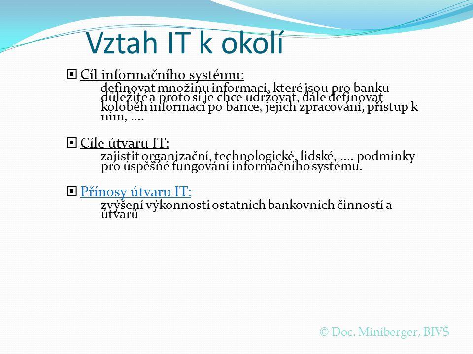 Vztah IT k okolí  Cíl informačního systému: definovat množinu informací, které jsou pro banku důležité a proto si je chce udržovat, dále definovat ko
