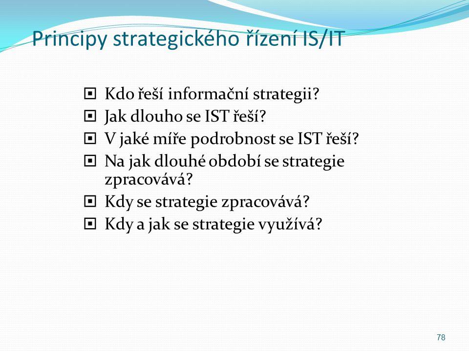 Principy strategického řízení IS/IT  Kdo řeší informační strategii?  Jak dlouho se IST řeší?  V jaké míře podrobnost se IST řeší?  Na jak dlouhé o