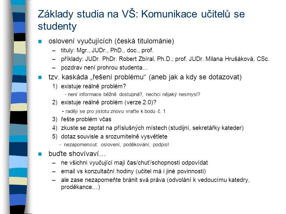 Základy studia na VŠ: Komunikace učitelů se studenty oslovení vyučujících (česká titulománie) –tituly: Mgr., JUDr., PhD., doc., prof.