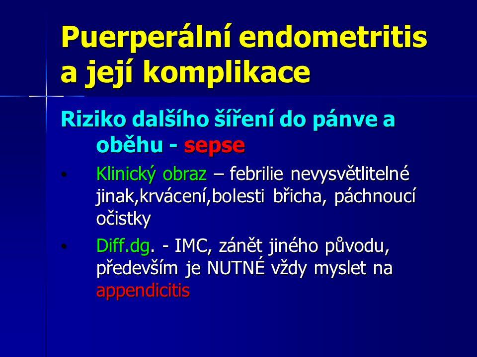 Puerperální endometritis a její komplikace Riziko dalšího šíření do pánve a oběhu - sepse Klinický obraz – febrilie nevysvětlitelné jinak,krvácení,bol