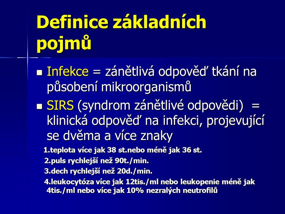 Definice základních pojmů Infekce = zánětlivá odpověď tkání na působení mikroorganismů Infekce = zánětlivá odpověď tkání na působení mikroorganismů SIRS (syndrom zánětlivé odpovědi) = klinická odpověď na infekci, projevující se dvěma a více znaky SIRS (syndrom zánětlivé odpovědi) = klinická odpověď na infekci, projevující se dvěma a více znaky 1.teplota více jak 38 st.nebo méně jak 36 st.